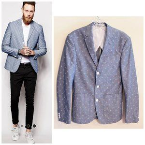ASOS Slim Fit Blazer in Anchor Design